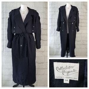 Vintage 5/6 Dark Blue Belted Long Trench Rain Coat